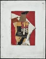 23-Geva su fondo rosso 1963 collage su tela cm