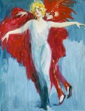 Ludwig Lutz Ehrenberger, Ballerina con figura in rosso,1929, tempera su carta